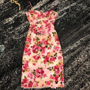 Gorgeous David Meister pink floral bustier dress